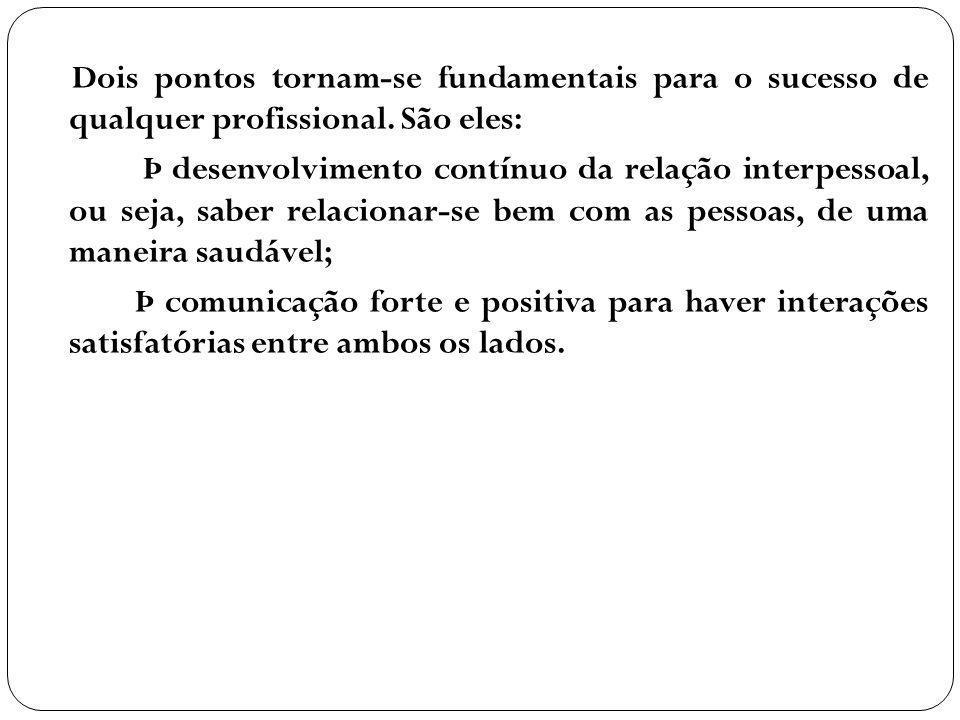 Dois pontos tornam-se fundamentais para o sucesso de qualquer profissional. São eles: Þ desenvolvimento contínuo da relação interpessoal, ou seja, sab