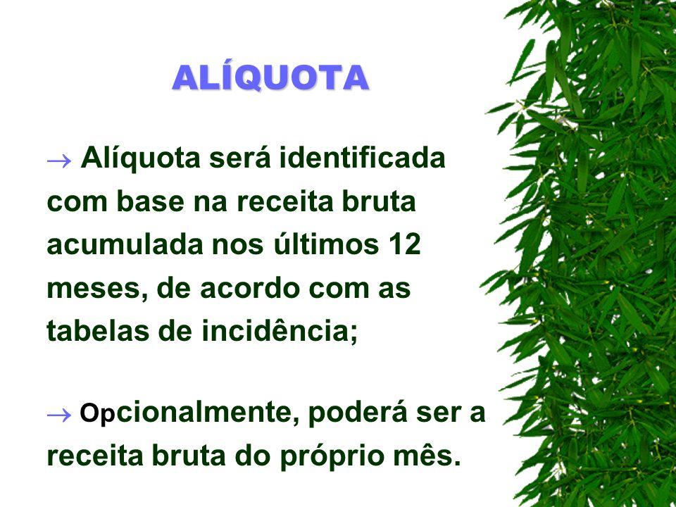ALÍQUOTA Alíquota será identificada com base na receita bruta acumulada nos últimos 12 meses, de acordo com as tabelas de incidência; Op cionalmente,