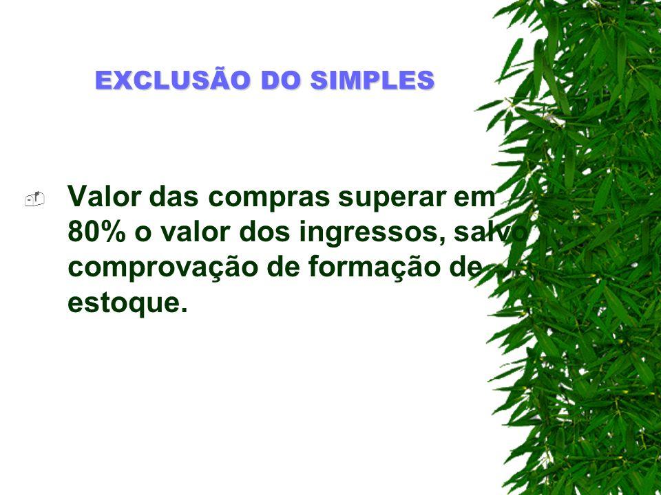 EXCLUSÃO DO SIMPLES Valor das compras superar em 80% o valor dos ingressos, salvo comprovação de formação de estoque.