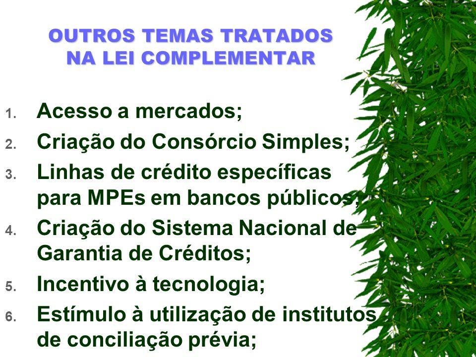 OUTROS TEMAS TRATADOS NA LEI COMPLEMENTAR 1. Acesso a mercados; 2. Criação do Consórcio Simples; 3. Linhas de crédito específicas para MPEs em bancos