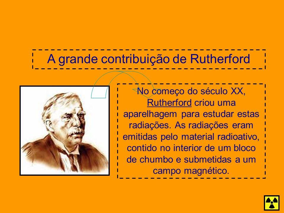 No começo do século XX, Rutherford criou uma aparelhagem para estudar estas radiações. As radiações eram emitidas pelo material radioativo, contido no