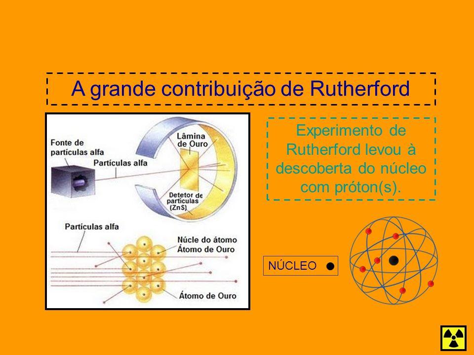 Experimento de Rutherford levou à descoberta do núcleo com próton(s). A grande contribuição de Rutherford NÚCLEO