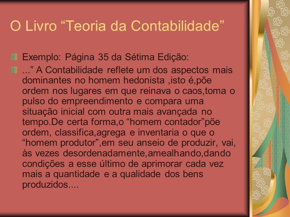 O LivroTeoria da Contabilidade Embora Normativo, em sua essência,nunca foi dogmático Na Sétima e Oitava Edição Analisam-se a Teoria Positiva e as Teorias Institucionais e Sociais Apesar de ter sido o introdutor( o Prof.Iudicibus) da Teoria Positiva, no Brasil, na Disciplina de Teoria Avançada da Contabilidade(Veja Livro específico em co-autoria com Broedel Lopes),apesar dos grandes méritos desta forma de encarar a teoria, falta a ela(teoria positiva) uma visão de conjunto.