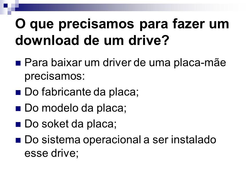 O que precisamos para fazer um download de um drive? Para baixar um driver de uma placa-mãe precisamos: Do fabricante da placa; Do modelo da placa; Do
