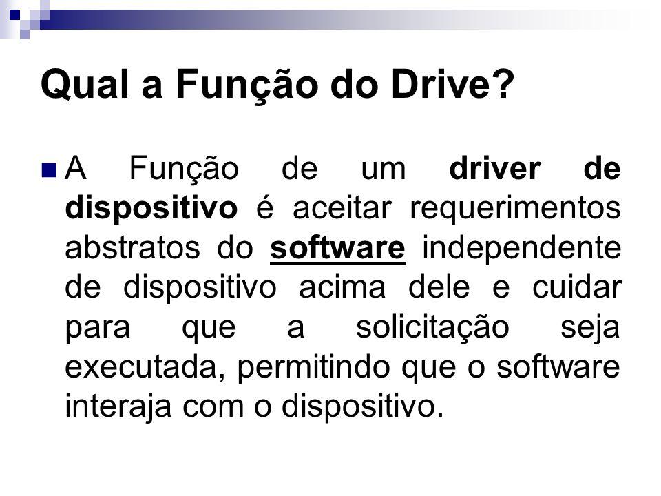Qual a Função do Drive? A Função de um driver de dispositivo é aceitar requerimentos abstratos do software independente de dispositivo acima dele e cu