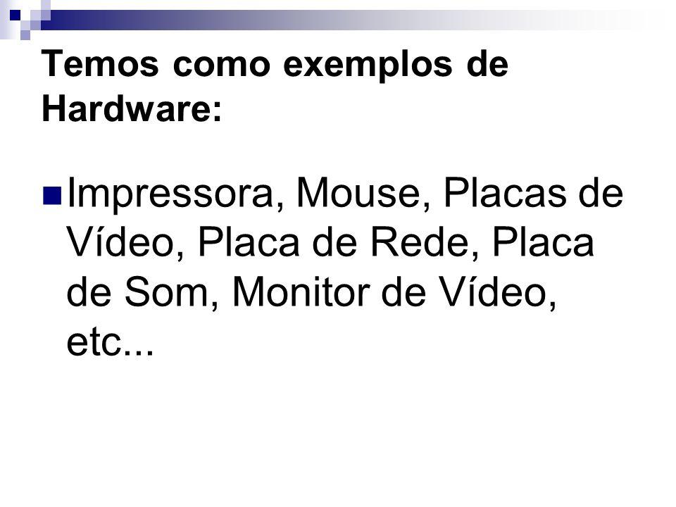 Temos como exemplos de Hardware: Impressora, Mouse, Placas de Vídeo, Placa de Rede, Placa de Som, Monitor de Vídeo, etc...