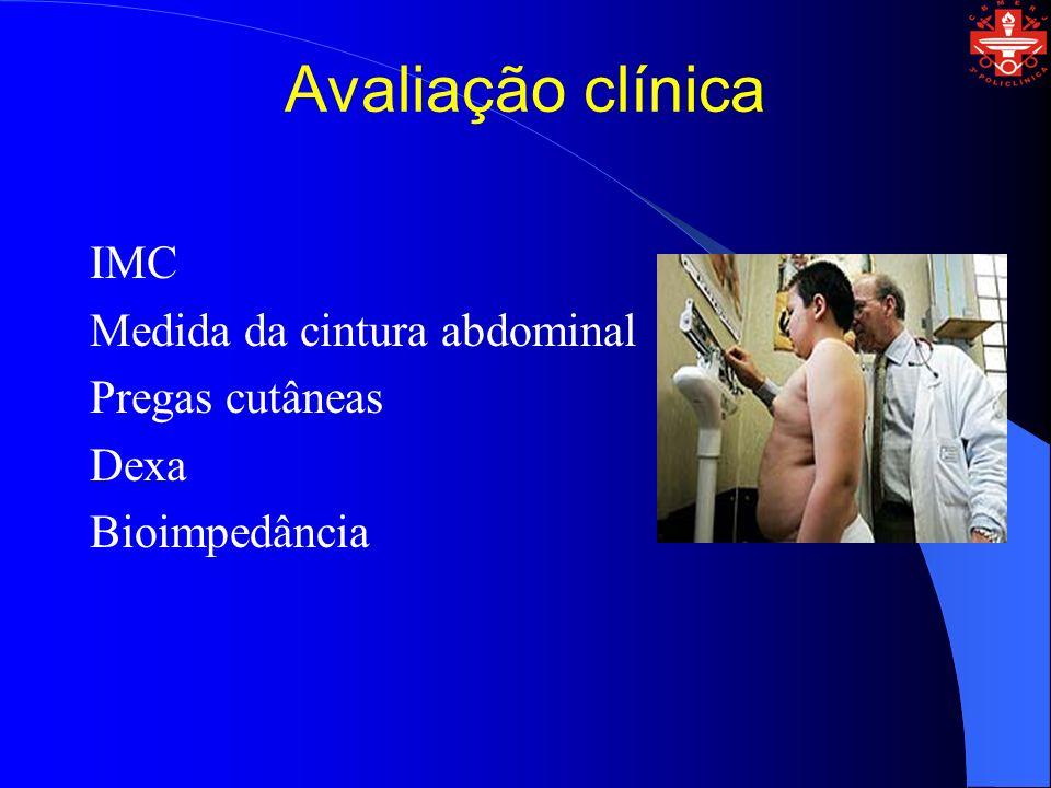Avaliação clínica IMC Medida da cintura abdominal Pregas cutâneas Dexa Bioimpedância