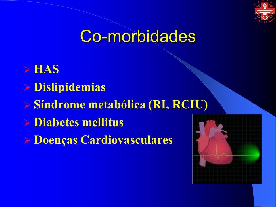 Co-morbidades HAS Dislipidemias Síndrome metabólica (RI, RCIU) Diabetes mellitus Doenças Cardiovasculares