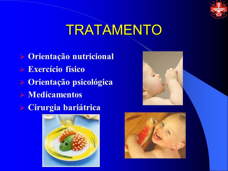 TRATAMENTO Orientação nutricional Exercício físico Orientação psicológica Medicamentos Cirurgia bariátrica