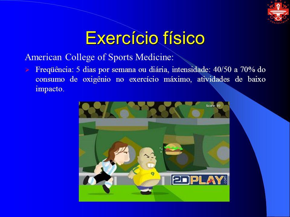 Exercício físico American College of Sports Medicine: Freqüência: 5 dias por semana ou diária, intensidade: 40/50 a 70% do consumo de oxigênio no exer