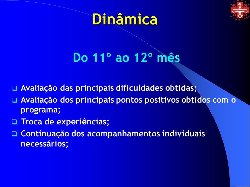 Dinâmica Do 11º ao 12º mês Avaliação das principais dificuldades obtidas; Avaliação dos principais pontos positivos obtidos com o programa; Troca de e