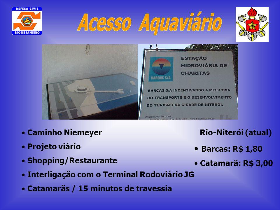 Caminho Niemeyer Projeto viário Shopping/Restaurante Interligação com o Terminal Rodoviário JG Catamarãs / 15 minutos de travessia Rio-Niterói (atual)