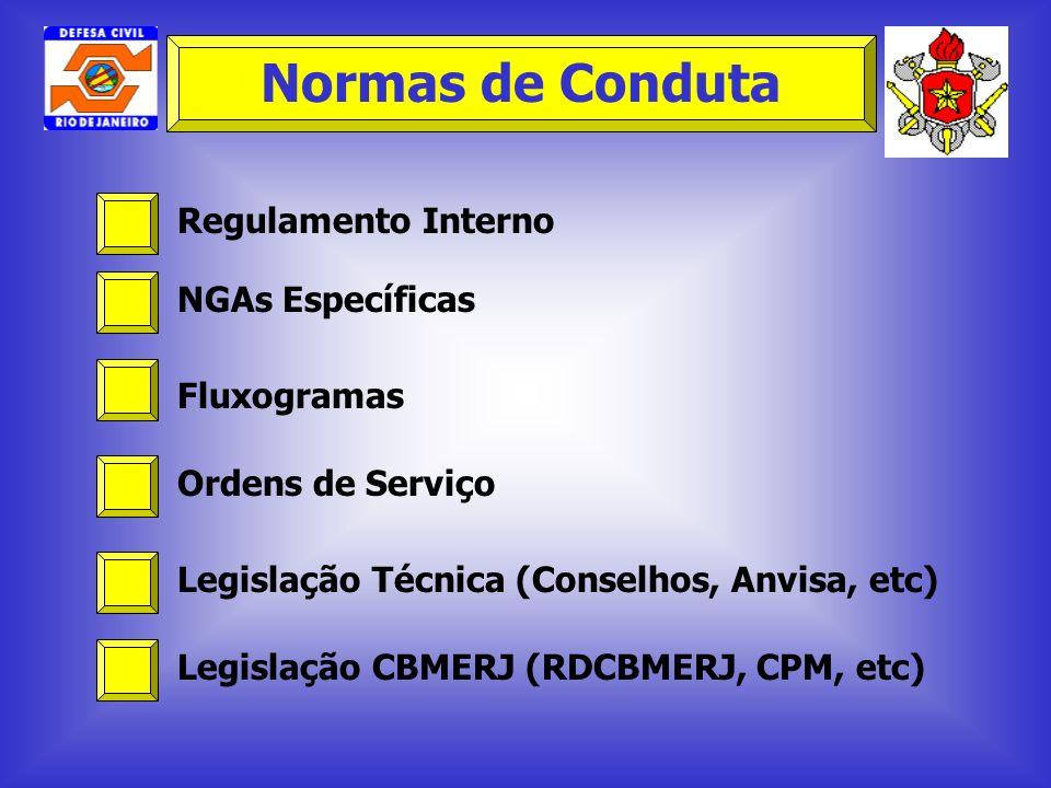 Regulamento Interno NGAs Específicas Fluxogramas Ordens de Serviço Legislação Técnica (Conselhos, Anvisa, etc) Legislação CBMERJ (RDCBMERJ, CPM, etc)