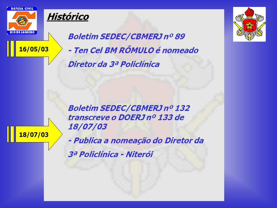 Histórico 16/05/03 Boletim SEDEC/CBMERJ nº 89 - Ten Cel BM RÔMULO é nomeado Diretor da 3ª Policlínica 18/07/03 Boletim SEDEC/CBMERJ nº 132 transcreve