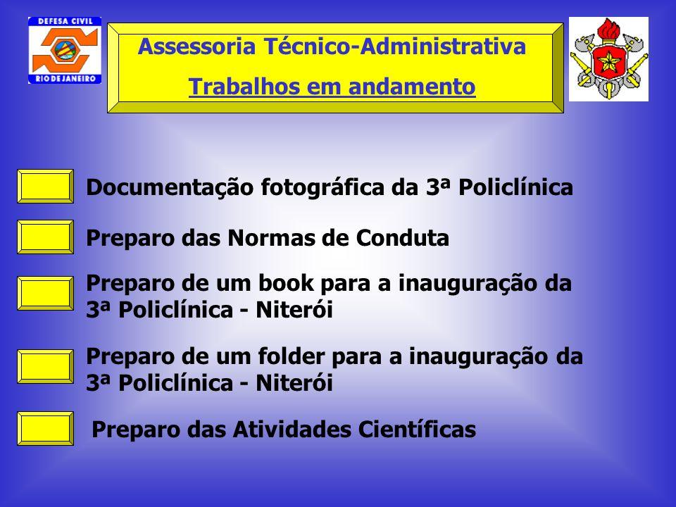 Documentação fotográfica da 3ª Policlínica Preparo das Normas de Conduta Preparo de um book para a inauguração da 3ª Policlínica - Niterói Preparo de
