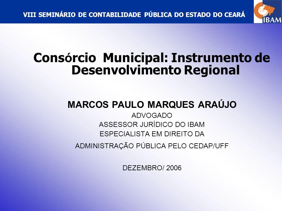 VIII SEMINÁRIO DE CONTABILIDADE PÚBLICA DO ESTADO DO CEARÁ GESTÃO ASSOCIADA DE SERVIÇO PÚBLICO I.