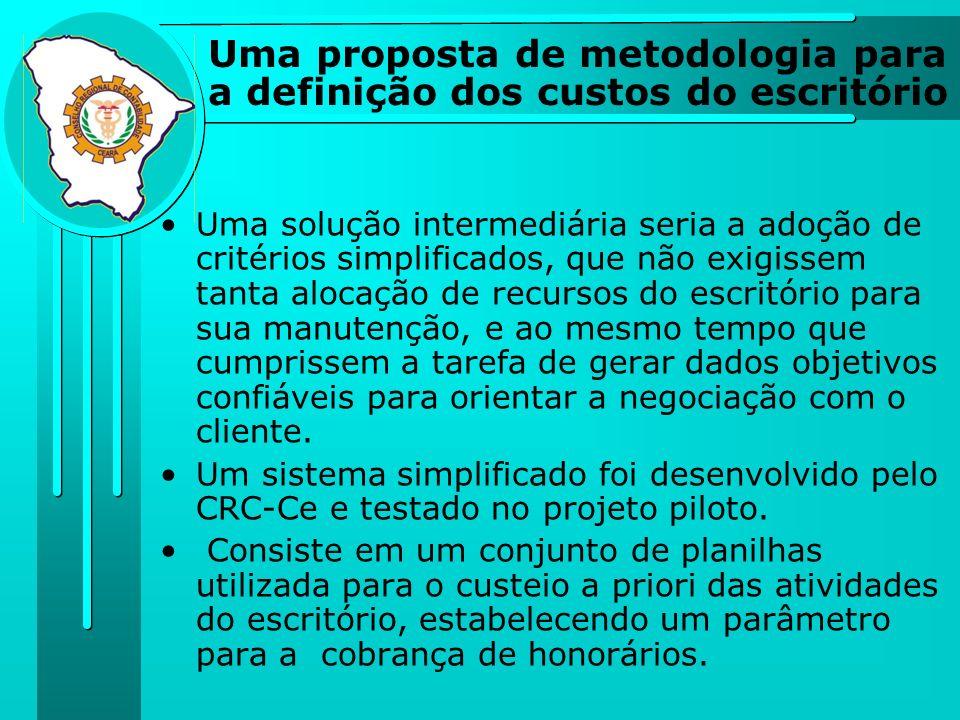 Uma proposta de metodologia para a definição dos custos do escritório Uma solução intermediária seria a adoção de critérios simplificados, que não exi