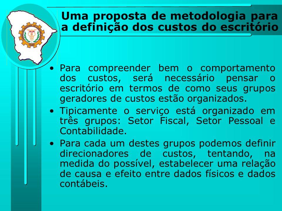 Uma proposta de metodologia para a definição dos custos do escritório Para compreender bem o comportamento dos custos, será necessário pensar o escrit