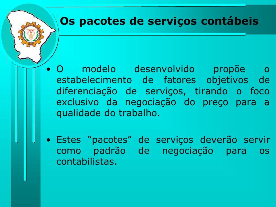 Os pacotes de serviços contábeis O modelo desenvolvido propõe o estabelecimento de fatores objetivos de diferenciação de serviços, tirando o foco excl