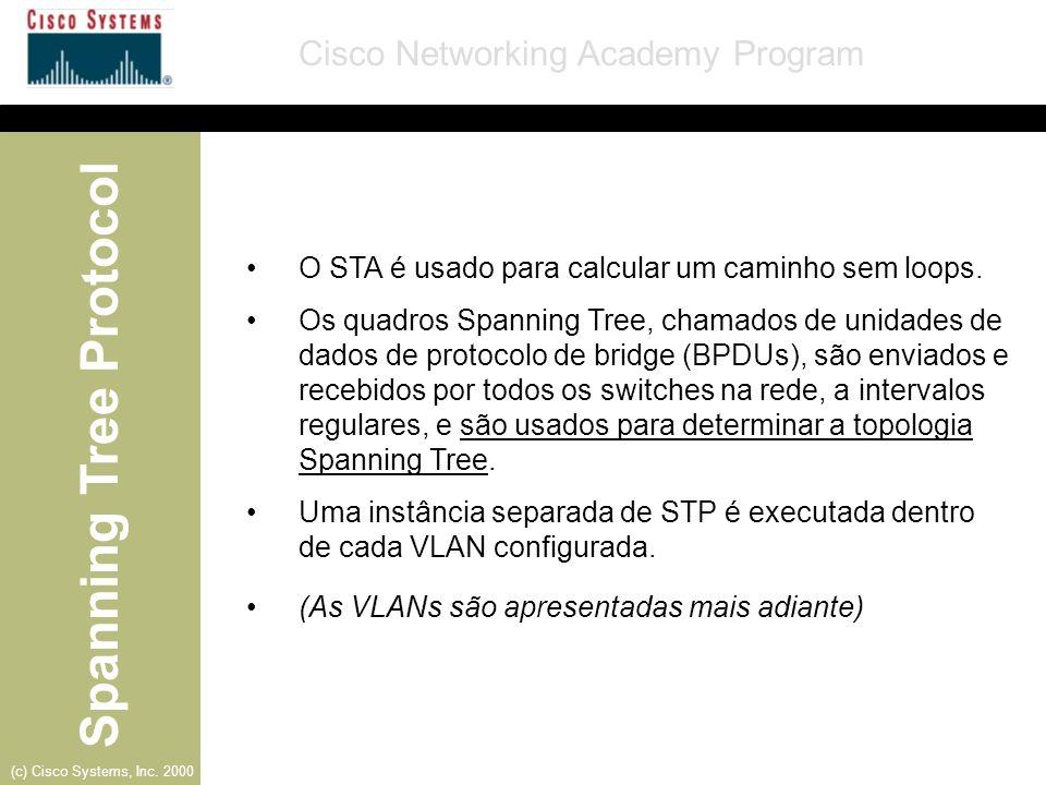 Spanning Tree Protocol Cisco Networking Academy Program (c) Cisco Systems, Inc. 2000 O STA é usado para calcular um caminho sem loops. Os quadros Span