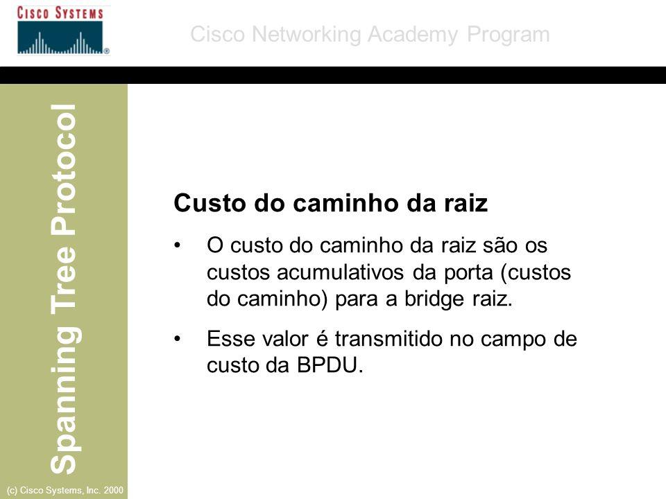 Spanning Tree Protocol Cisco Networking Academy Program (c) Cisco Systems, Inc. 2000 Custo do caminho da raiz O custo do caminho da raiz são os custos