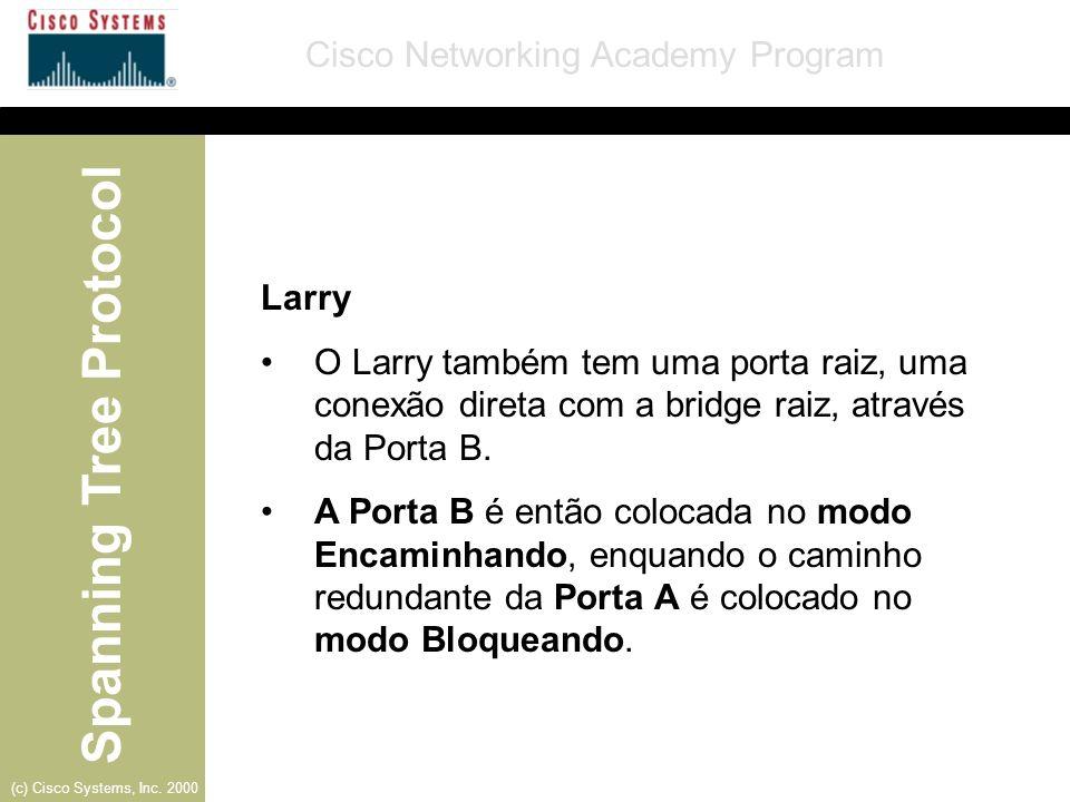 Spanning Tree Protocol Cisco Networking Academy Program (c) Cisco Systems, Inc. 2000 Larry O Larry também tem uma porta raiz, uma conexão direta com a