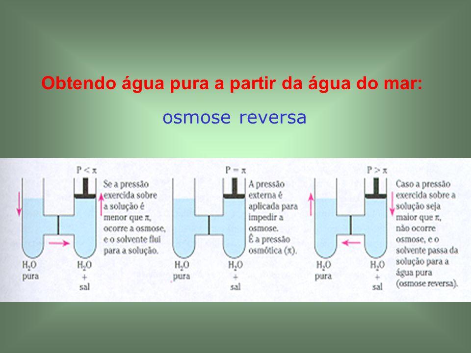 Obtendo água pura a partir da água do mar: osmose reversa
