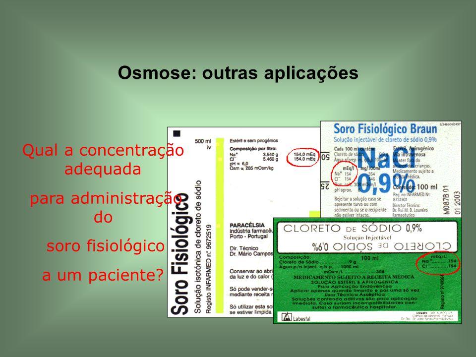 Osmose: outras aplicações Qual a concentração adequada para administração do soro fisiológico a um paciente?