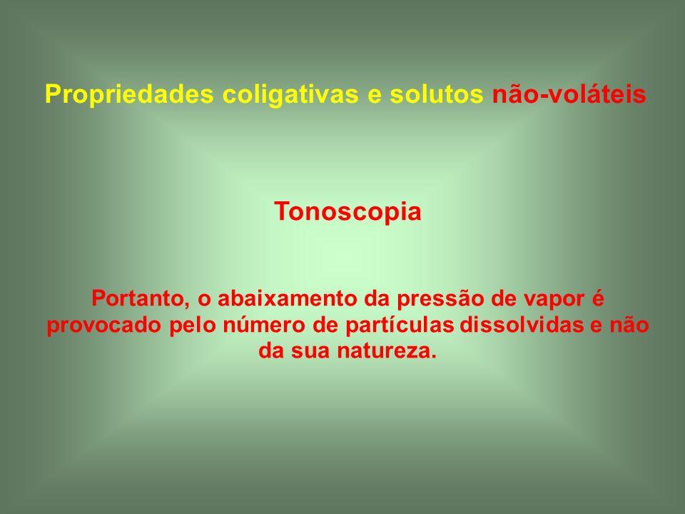 Propriedades coligativas e solutos não-voláteis Tonoscopia Portanto, o abaixamento da pressão de vapor é provocado pelo número de partículas dissolvid
