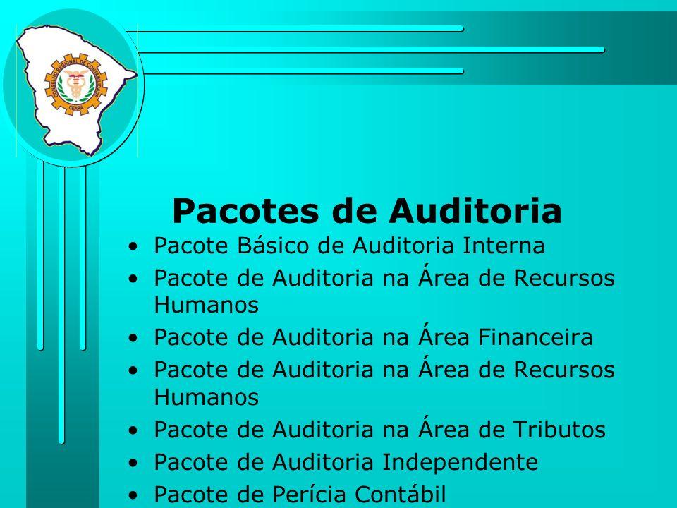 Pacotes de Auditoria Pacote Básico de Auditoria Interna Pacote de Auditoria na Área de Recursos Humanos Pacote de Auditoria na Área Financeira Pacote