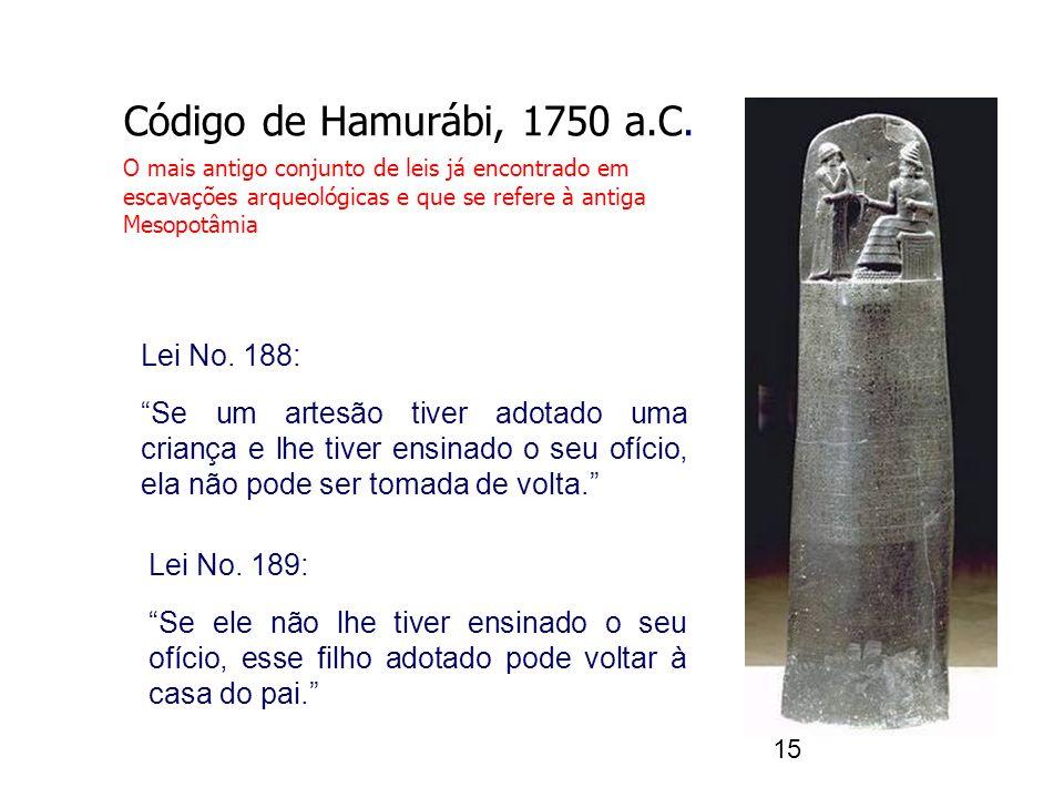15 Código de Hamurábi, 1750 a.C. O mais antigo conjunto de leis já encontrado em escavações arqueológicas e que se refere à antiga Mesopotâmia Lei No.