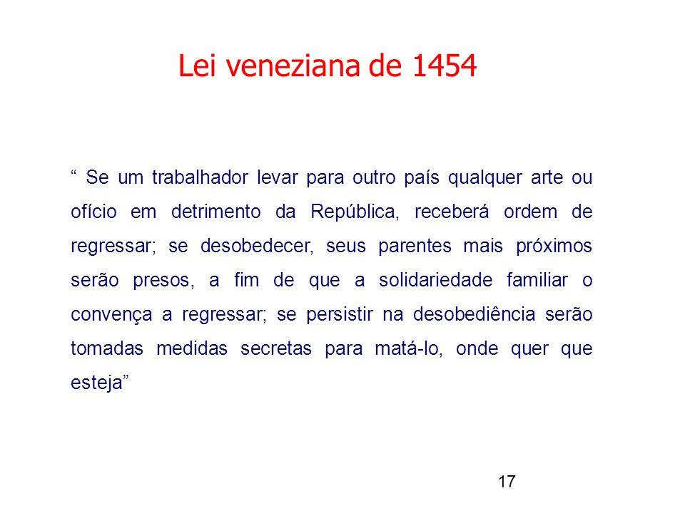 17 Lei veneziana de 1454 Se um trabalhador levar para outro país qualquer arte ou ofício em detrimento da República, receberá ordem de regressar; se desobedecer, seus parentes mais próximos serão presos, a fim de que a solidariedade familiar o convença a regressar; se persistir na desobediência serão tomadas medidas secretas para matá-lo, onde quer que esteja