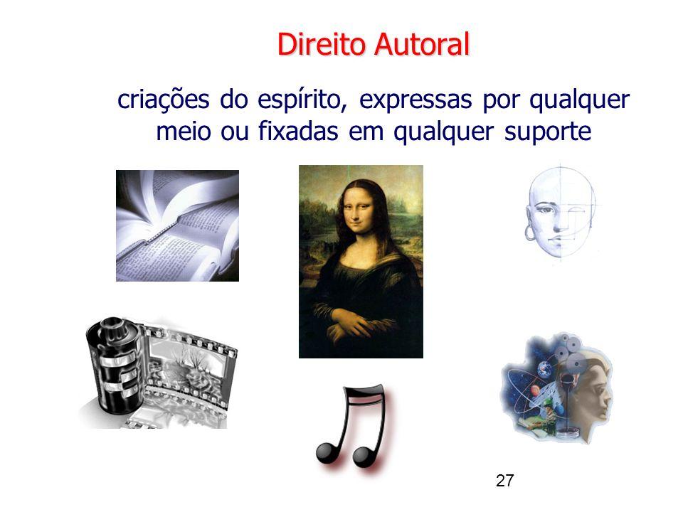 27 Direito Autoral criações do espírito, expressas por qualquer meio ou fixadas em qualquer suporte