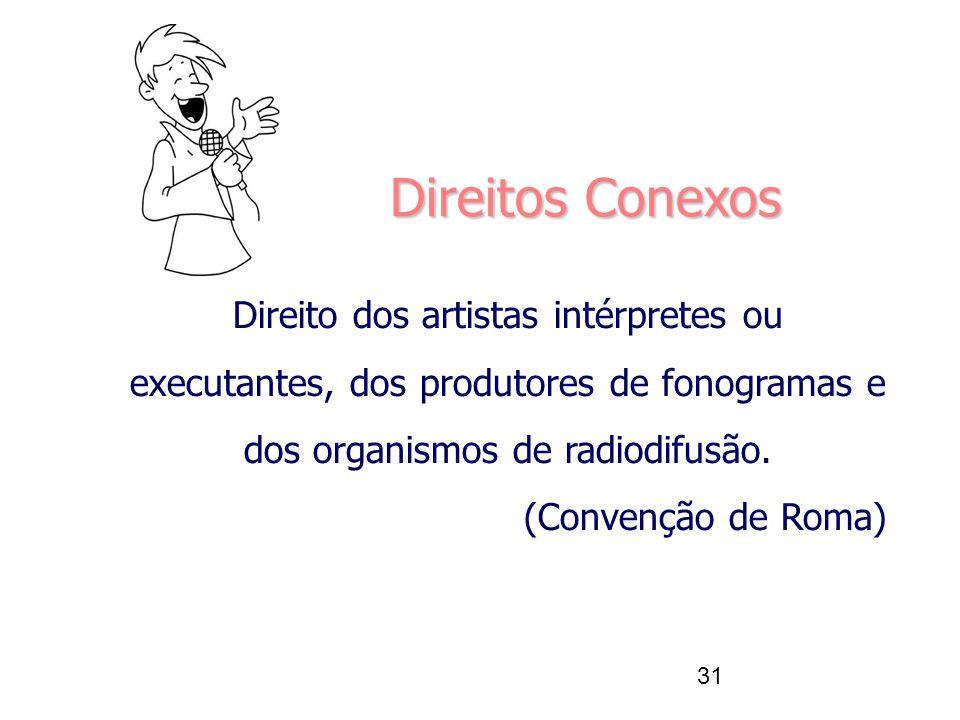 31 Direito dos artistas intérpretes ou executantes, dos produtores de fonogramas e dos organismos de radiodifusão. (Convenção de Roma) Direitos Conexo