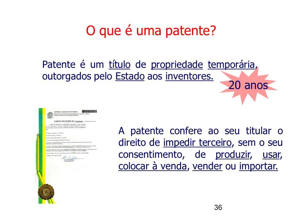36 O que é uma patente? Patente é um título de propriedade temporária, outorgados pelo Estado aos inventores. A patente confere ao seu titular o direi