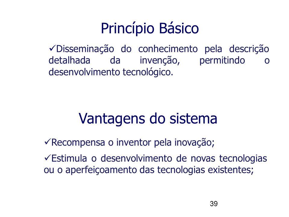39 Vantagens do sistema Recompensa o inventor pela inovação; Estimula o desenvolvimento de novas tecnologias ou o aperfeiçoamento das tecnologias existentes; Disseminação do conhecimento pela descrição detalhada da invenção, permitindo o desenvolvimento tecnológico.
