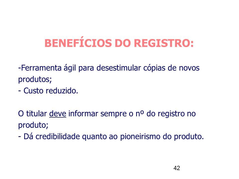 42 BENEFÍCIOS DO REGISTRO: -Ferramenta ágil para desestimular cópias de novos produtos; - Custo reduzido. O titular deve informar sempre o nº do regis