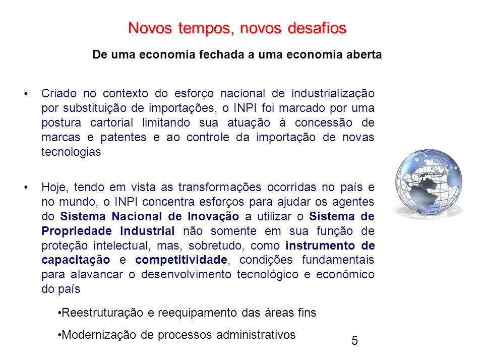5 Novos tempos, novos desafios Novos tempos, novos desafios De uma economia fechada a uma economia aberta Criado no contexto do esforço nacional de in
