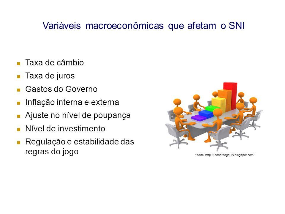 Variáveis macroeconômicas que afetam o SNI Taxa de câmbio Taxa de juros Gastos do Governo Inflação interna e externa Ajuste no nível de poupança Nível