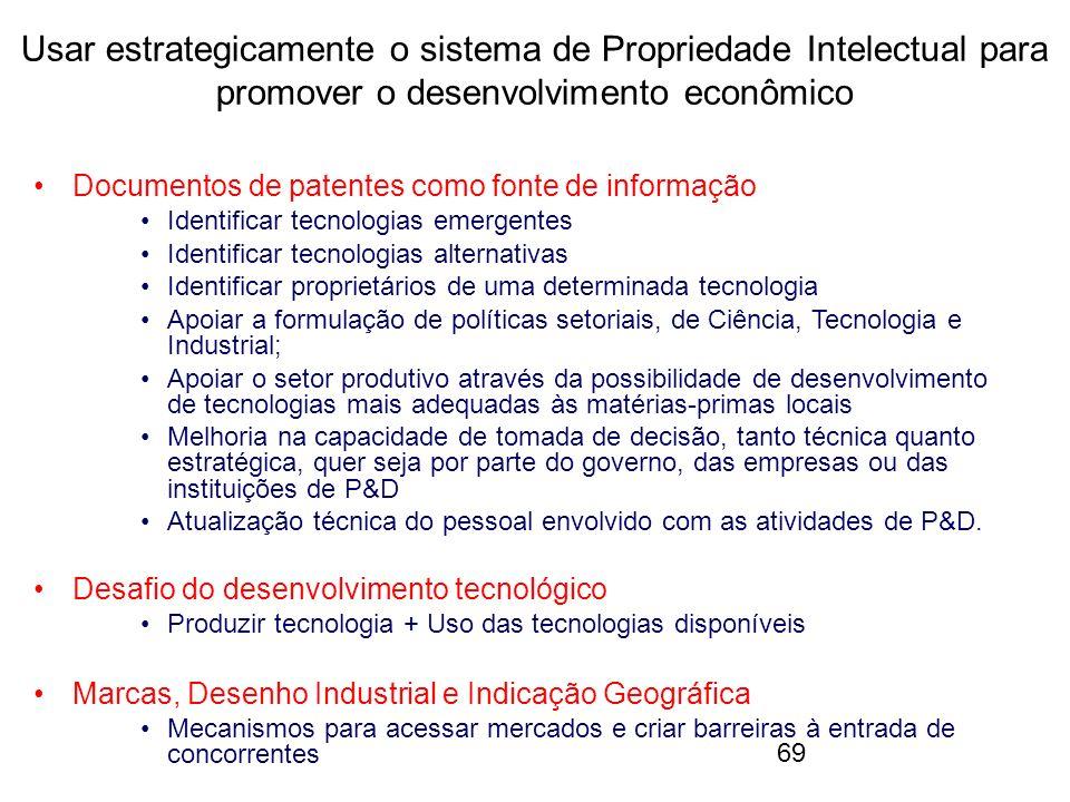 69 Usar estrategicamente o sistema de Propriedade Intelectual para promover o desenvolvimento econômico Documentos de patentes como fonte de informaçã