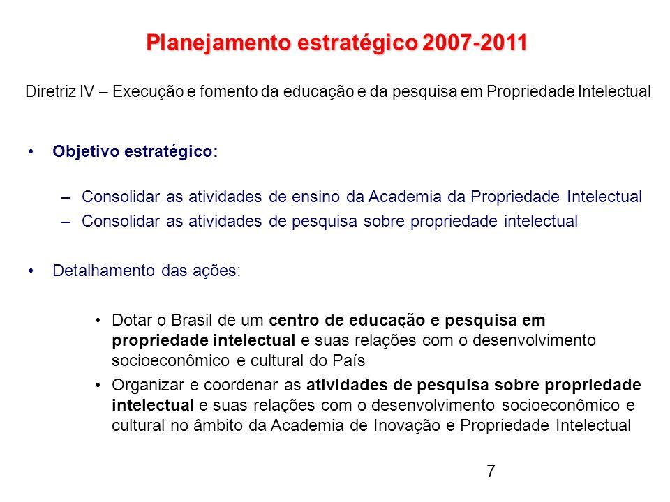 7 Planejamento estratégico 2007-2011 Planejamento estratégico 2007-2011 Diretriz IV – Execução e fomento da educação e da pesquisa em Propriedade Inte
