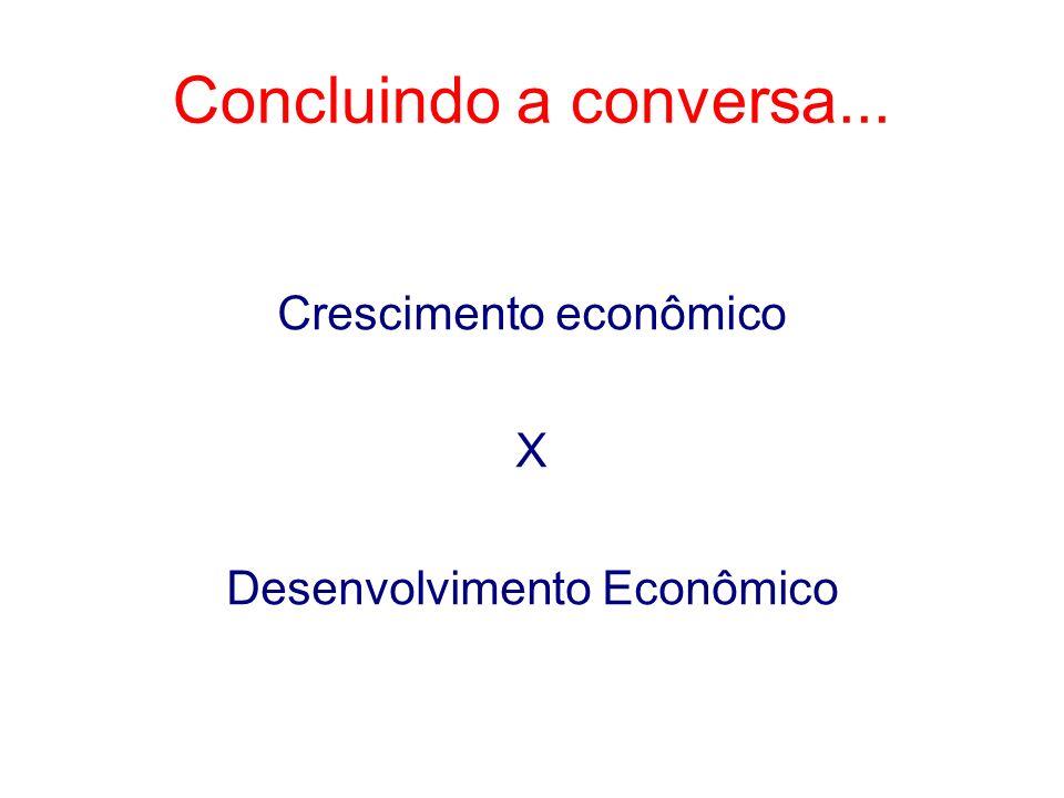 Concluindo a conversa... Crescimento econômico X Desenvolvimento Econômico