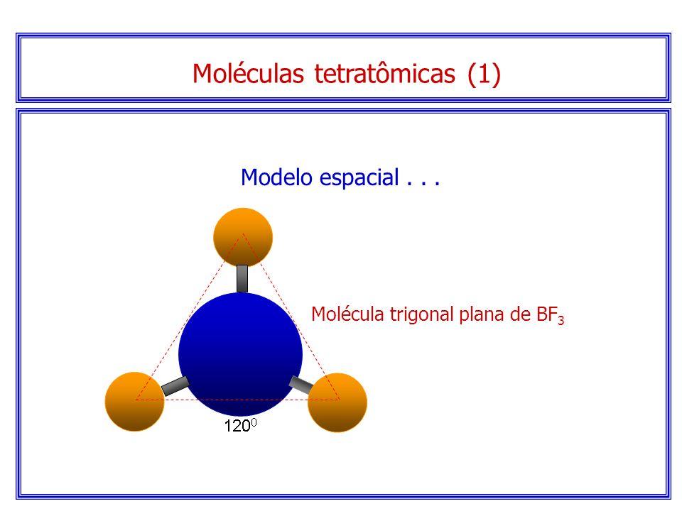 Moléculas tetratômicas (1) Serão trigonais planas se não houver elétrons sem compartilhamento no átomo central.