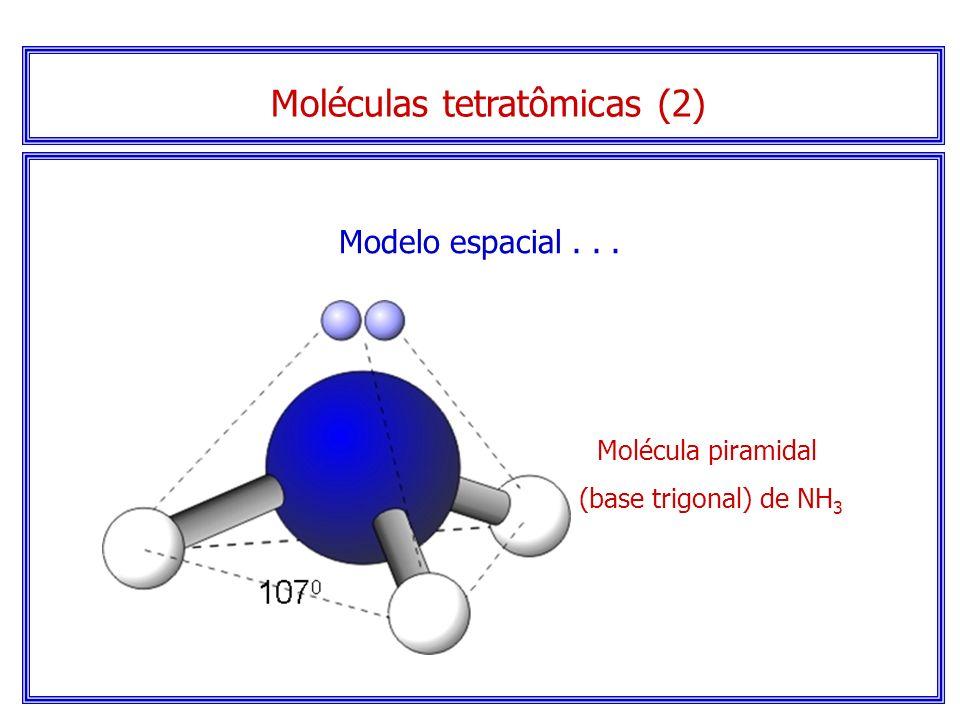 Moléculas tetratômicas (2) Elétrons não compartilhados Serão piramidais (base trigonal) se houver elétrons sem compartilhamento no átomo central.
