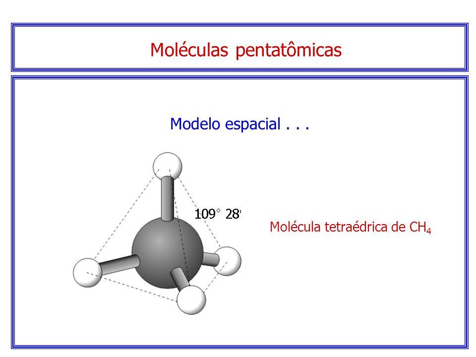 Moléculas pentatômicas Serão Tetraédricas. note que não há elétrons sem compartilhamento no átomo central.