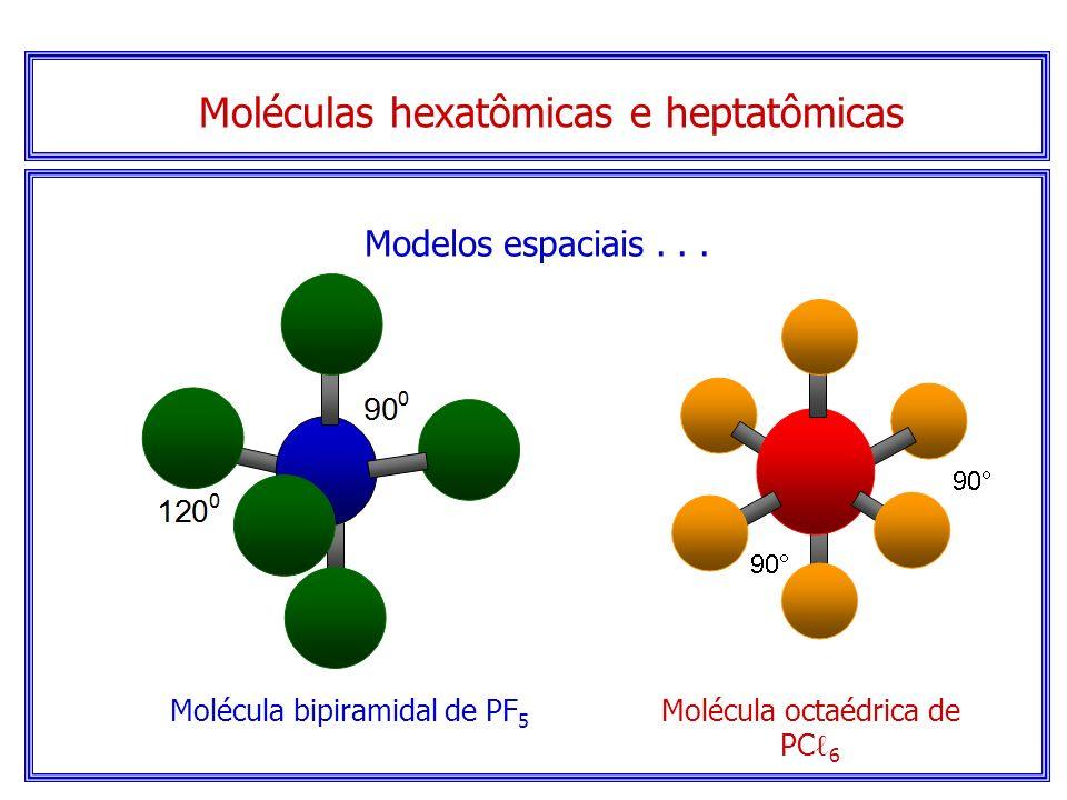 Moléculas hexatômicas e heptatômicas Seguindo a mesma linha de raciocínio, isto é, da repulsão máxima dos pares de elétrons, outros modelos mais compl