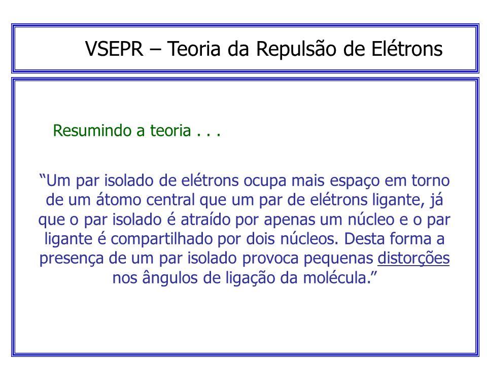 VSEPR – Teoria da Repulsão de Elétrons Resumindo a teoria... A estrutura das moléculas é determinada pelas repulsões entre todos os pares de elétrons