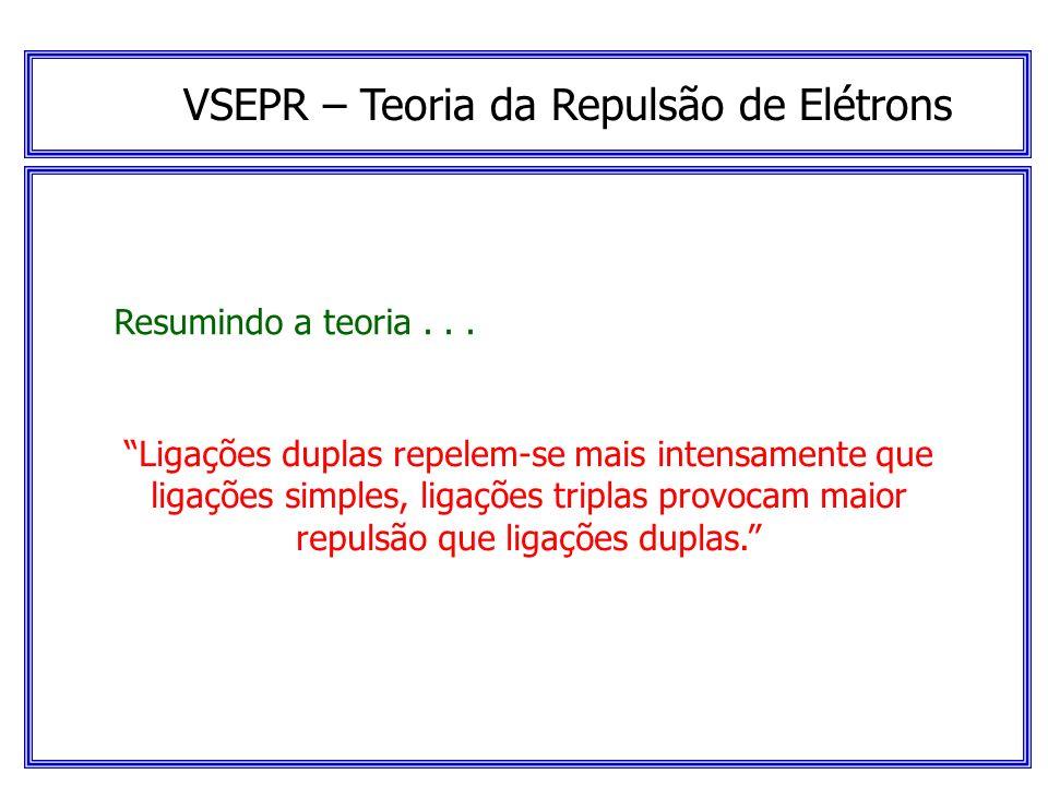 VSEPR – Teoria da Repulsão de Elétrons Resumindo a teoria... Um par isolado de elétrons ocupa mais espaço em torno de um átomo central que um par de e
