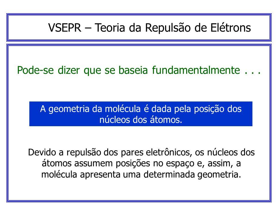 VSEPR – Teoria da Repulsão de Elétrons Pode-se dizer que se baseia fundamentalmente... Os pares eletrônicos da camada de valência estão afastados ao m