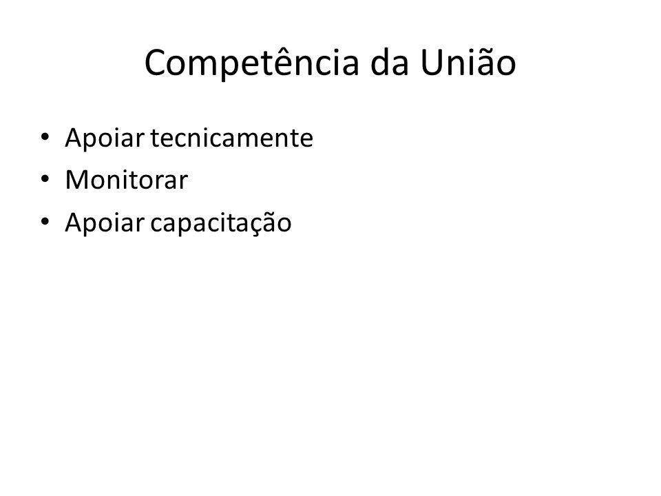 Competência da União Apoiar tecnicamente Monitorar Apoiar capacitação
